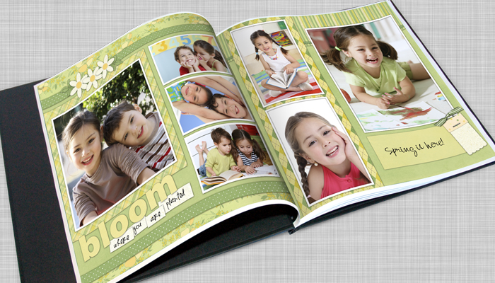 square photo book, book for digital scrapbook pages