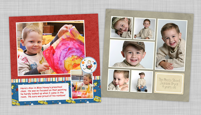 digtial scrapbook pages, templates you can fill with your own photos, premade page layouts